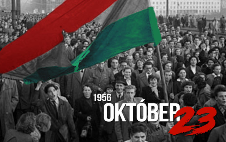An old picture of men with a Hungarian flag protesting during the 1956 revolution in Hungary