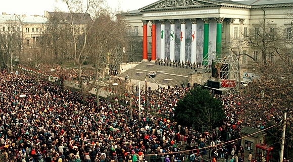 Crowd gathered for the 15th of March when Hungary celebrates the anniversary of the 1848-49 revolution against the Habsburg Empire