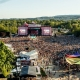 Capture of the main stage and its audience of the Sziget festival, the most famous summer festival of Hungary organized on an island on the river Danube
