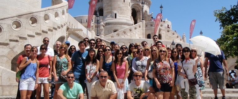 A lovely group in front of the Fisherman's Bastion at the end of a General Budapest Free Tour