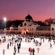 Evening photo of the biggest open air ice-skating rink of Europe, situated in the City park next to the Heroes' square in Budapest