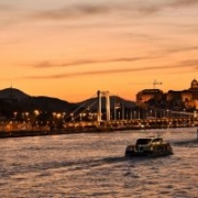 Picture taken during one of our Evening free tours, the river Danube, Elisabeth bridge and Royal palace