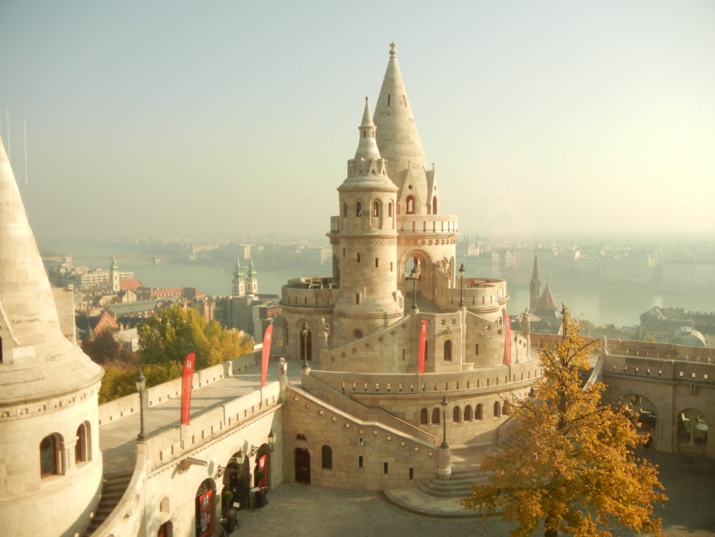 One of the seven towers of the Fisherman's Bastion located on the Buda side in the Castle district