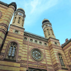 The façade and two towers of the Dohány street grand synagogue, the second biggest synagogue of the world