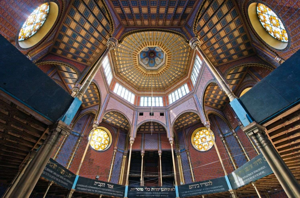 The gorgeous interior of the renovated Rumbach street Synagogue in the Jewish quarter of Budapest