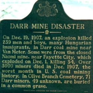 A plaque remembering the victims of the mine disaster in 1910 near the town of Van Meter, Pennsylvania