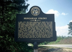 A plaque of the wine making Hungarian colony in Georgia in the 1800s