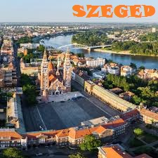 Photo of the Cathedral of Szeged and inner city lying next to the second biggest river of Hungary, the Tisza