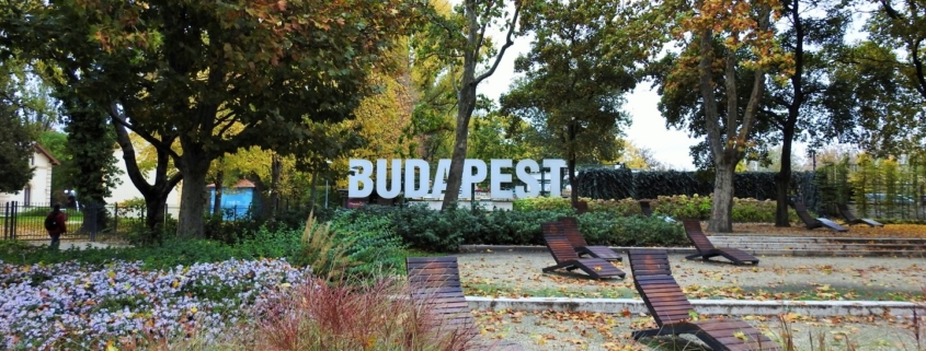 You can find this Budapest sign on Margaret Island which is connected to the Margaret Bridge next to the Hungarian Parliament building