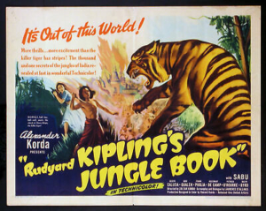 Colorful movie poster of Alexander Korda's movie, the Jungle book in English