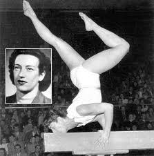 Black and white picture of Ágnes Keleti, Hungarian Olympic winner gymnast performing a movement