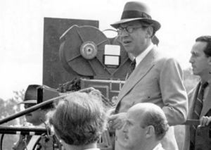 Black and white photo of Sir Alexander Korda world-famous producer and director of Hungarian origin at work