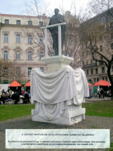 The statue of Béla Kovács, a Hungarian politician that fell victim of the Communist dictatorship