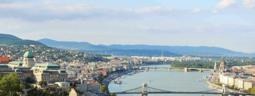 The Chain bridge in the foreground spanning between Buda and Pest