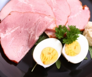 Cooked ham and boiled eggs with horseradish cream which is eaten at Easter in Hungary