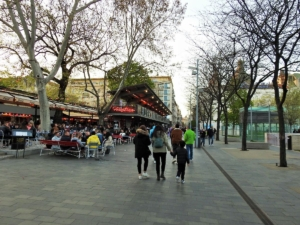 Photo taken one evening after they opened the terraces of bars and restaurants during Covid-19 in April 2021